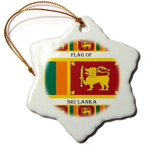 3dRose ORN 211384_ 1Flagge von Sri Lanka Schneeflocke Porzellan Ornament, 7,6cm