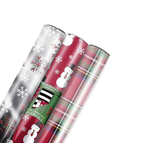 Hallmark Reversible Christmas Wrapping Paper Bundle (Pack of 3, 60 sq. ft. ttl.) Contemporary Foil, Red Plaid, Green Houndstooth, Black and White Stripes, Snowflakes (5EWR2154)