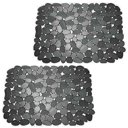 mDesign Juego de 2 tapetes de PVC recortables para fregaderos – Práctico protector de fregadero para la cocina – Base para fregadero para proteger la vajilla y la pila – negro