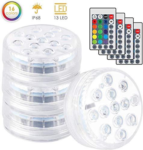JKLL Unterwasser Licht, IP68 wasserdichte LED Leuchten mit Fernbedienung RGB Multi Farbwechsel Lichter Pool für Vase Base Party,Schwimmbad,Garten, Aquarium, Vase, Badewanne