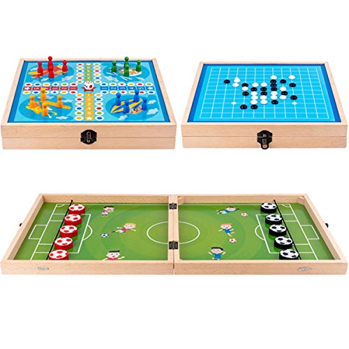 MOMSIV Schnelles Sling-Puck-Spiel, Lustiges Faltbares 3-in-1 Fußball Eisball-Kampfspiel aus Holz Gewinner Brettspiel Tisch Eltern-Kind Interaktives Spielzeugparty Desktop-Spiel für Erwachsene Kinder