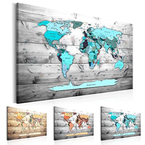 murando Mappamondo 120x80 cm 1 Parte Lavagna di Sughero & Quadro su Tela TNT XXL Stampa Bacheca Sughero Quadro con Tappo Immagini Decorazione da Parete Memoboard Mappa del Mondo k-B-0009-p-d