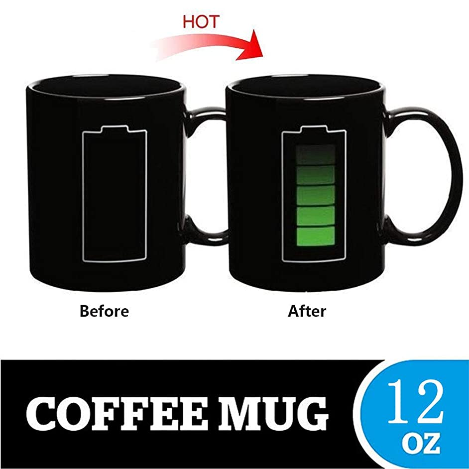 Cupitool Heat Changing Sensitive Funny Mug Cool Coffee & Tea Unique Magic Color Changing Cup 12 oz Battery Charging Design Drinkware Ceramic Mugs Cute Birthday Idea for Friend