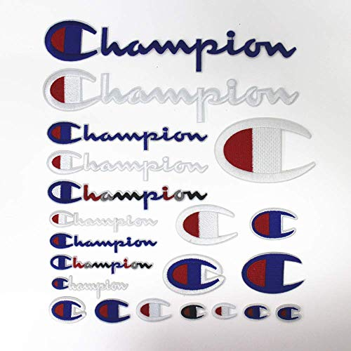 A-lee 21 Pack Champion Patches Set Sew on or Iron on Multi Size Patch Embroidered DIY Applique Badge Decorative (Champion Patches)