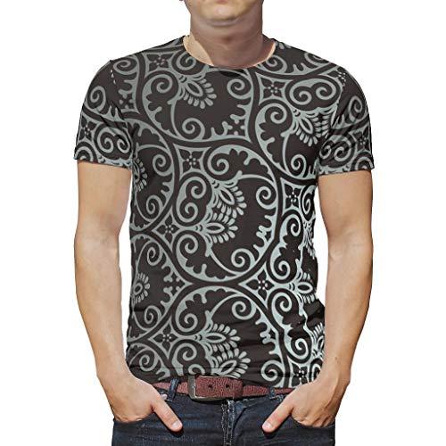 O2ECH-8 Mann Herren Boho T Shirt Unisex Top, Black Mandala Mode - Ethnischer Stil Muster gedruckt Atmungsaktiv und Bequem Kurzarmhemd White l
