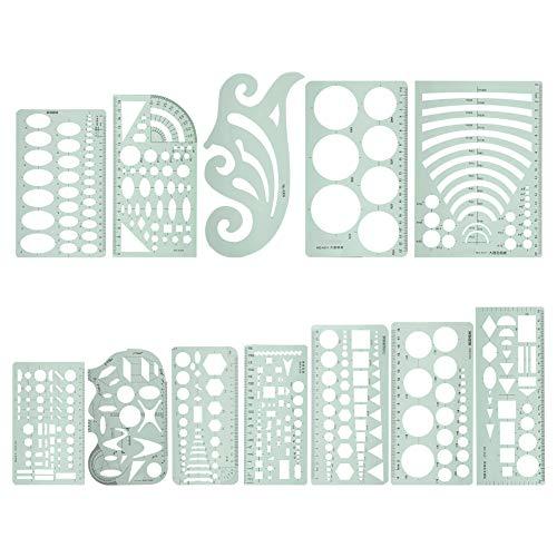 12pcs Juego de reglas Reglas de clasificación en forma de curva Plantillas de dibujo de arquitectura Plantillas de plástico de medición Plantilla circular para coser Herramienta de medición