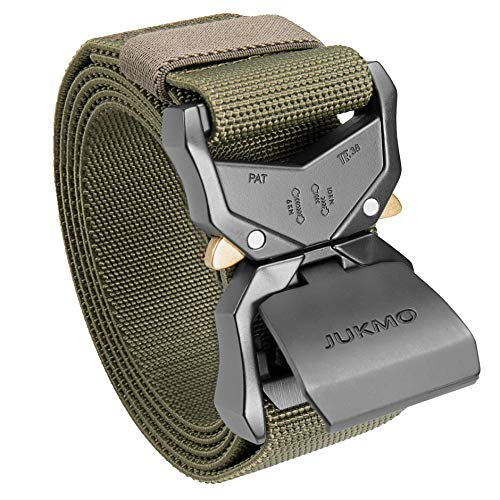 """JUKMO Tactical Belt, Military Hiking Rigger 1.5"""" Nylon Web Work Belt with Heavy Duty Quick Release Buckle (Amy green, Small)"""