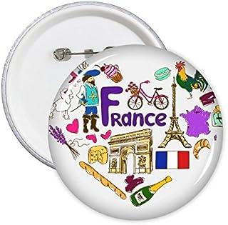 DIYthinker France Amour coeur du paysage des douanes Haut-lieu touristique Animaux Drapeau national résident régime Illust...