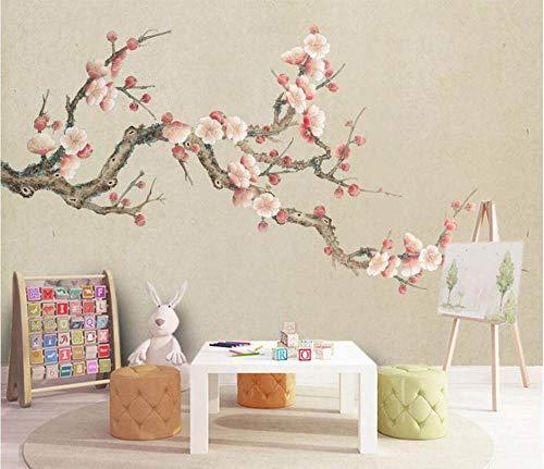 Behang fotobehang Custom Wallpaper 3D Groot landschap Roze pruimen bloemen op Chinese insecten Landelijk Moderne decoratie Hd Kunstdruk Poster Afbeelding Foto voor de woonkamer wand (BH-1505) 380cm(W)×240cm(H)|12.46×7.87 ft