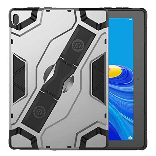 SMZNXF Tablet PC case,Shockproof Armor TPU PC Portable Hand Strap Stand Tablet Cover For Lenovo Tab E10 10.1 inch TB-X104F TB X104F Case,Silver