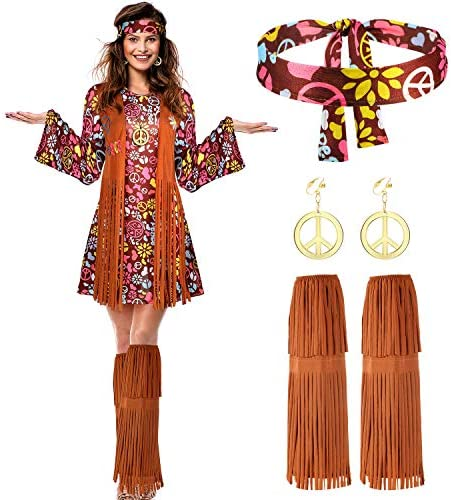 Women Hippie Costume Set Peace Sign Earring Necklace Headband Dress Ankle Socks L product image