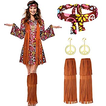Women Hippie Costume Set Peace Sign Earring Necklace Headband Dress Ankle Socks  M