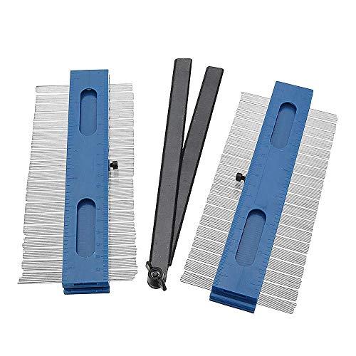 HYY-YY Kit de carpintería 2x200mm 2 en 1 Medidor de contorno Copia Medidor Duplicador Madera Marcado Herramienta Tiling Laminado Azulejos Durable