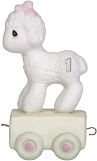 Precious Moments,  Happy Birthday Little Lamb, Birthday Train Age 1, Bisque Porcelain Figurine, 142021