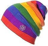 AILOVA Gestrickte Regenbogen Mütze, Doppelstrick Streifenmütze Garn Eltern-Kind-Mütze für Kopfumfang 55-61cm (Rot)