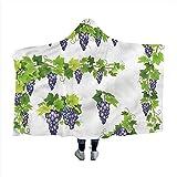 Biubiu-Shop Vine Nug Hooded Blanket grünes Blatt Cluster von Beeren Winter Wearable Hooded Blanket Hoodie Mantel 60 x 50 Zoll