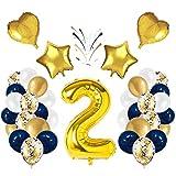 Globo número 2 Korins, número gigante 0 1 2 3 4 5 6 7 8 9 Globo de papel de aluminio con 24 globos de confeti de látex, decoración de aniversario de fiesta de cumpleaños
