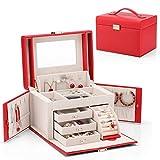 Organizador de caja de joyería con una sola mano, 3 capas de alta capacidad suave PU Caja de almacenamiento decorativo de madera de madera for pulseras, pendientes, anillos, collares, broches caja rel