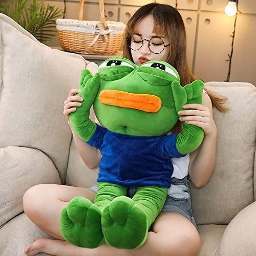 mengfanet Plush Toys 50cm Cute Magic Expression Pepe The Frog Sad Frog Plush Stuffed Dolls Animal Toy Kawaii Gift for Girls Kids