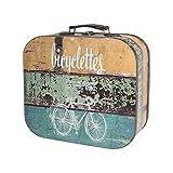 HMF VKO200 Maleta Vintage de Madera | 25 x 21,5 x 8,5 cm | Pequeño | Decoración Bicicleta