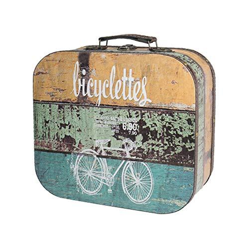 HMF 6431-125 Vintage Koffer aus Holz | 25 x 21,5 x 8,5 cm | Klein | Deko Fahrrad
