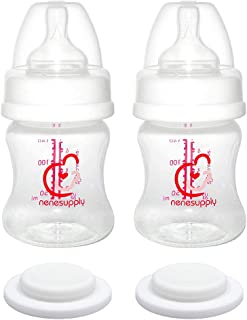 Nenesupply Wide Mouth Feeding Bottle 4.7oz and Storage Bottle Use with Spectra S2 Spectra S1 and 9 Plus Breastpumps Inc Nipple and Sealing Disc Use with Spectra S2 Accessories and Spectra Pump Parts