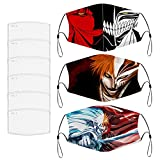 (Bleach Ichigo Hollow) 3Pcs Anime Mask with 6 Filter Activated Carbon Face Mask Washable Reusable