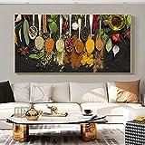 Coloridas cucharas de condimentos Hierbas Especias Pimienta Anís Cocina Lienzo Pintura Arte de la pared Póster Impresiones Cocina Dormitorio Sala de estar Oficina Estudio Decoración para el hogar