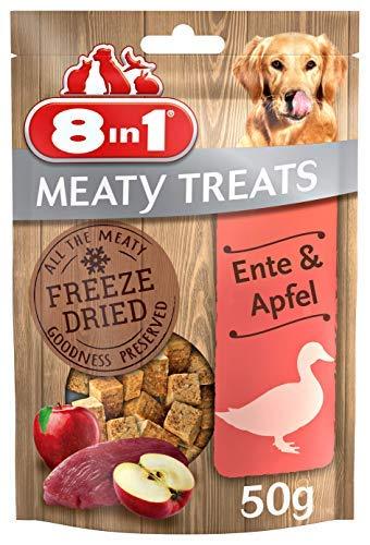 8in1 Meaty Treats, gefriergetrocknete Hunde Leckerlis mit Ente & Apfel, getreidefrei und ohne Zucker (1 Beutel, 50 g)