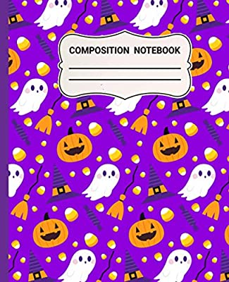 """Halloween Composition Notebook: Witch and Pumpkin wide ruled pages 7.5"""" x 9.25"""" Softbound, Goth, Horror, Scary, Unique Halloween Gifts for Girls, kids and Women. Perfect for Writing at Home or School."""