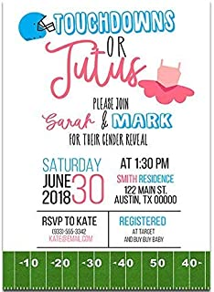 Tutus and Touchdowns Gender Reveal Baby Shower Party Invitations