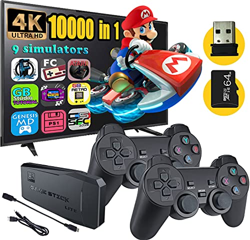 Fadist Retro Game Console,4K HDMI HD Output Video Game Console,Built in 10000+ Classic Video Games,with 2 Wireless Controller,Plug and Play Games...