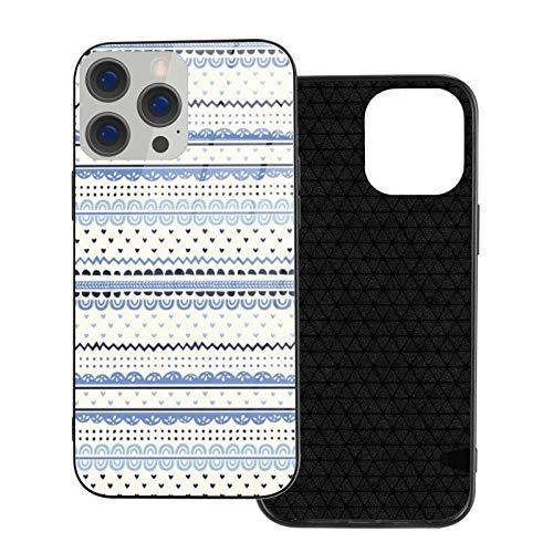 Compatible con iPhone 12 Pro Max, carcasa resistente de cuerpo completo, funda de vidrio TPU suave para iPhone 12 Pro Max 6.7 pulgadas, Delf Doodle Stripe