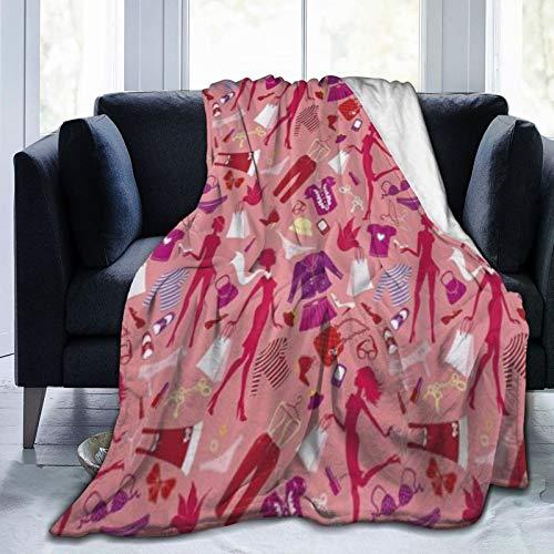 QIUTIANXIU Mantas para Sofás de Franela 150x200cm Tacones Y Vestidos Chica Siluetas Glamour Ropa Monederos Ropa Interior En Tonos Multicolor Manta para Cama Extra Suave