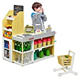 HONEY JOY Grocery Store Pretend Play, Kids Wooden Grocery Store Playset w/Shopping Cart, Play Money, Cash Register Stand, Chalkboard, Supermarket Checkout Counter Toy Set(Play Food Not Included)
