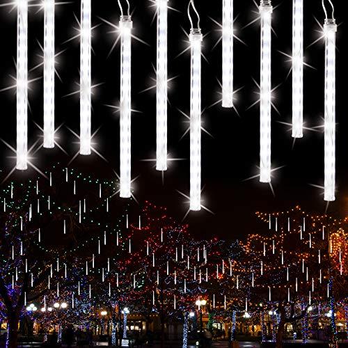 Meteorschauer Regen Lichter, BrizLabs 240 LED Außen Eiszapfen Regenlichter Fallende Weihnachtsbeleuchtung Wasserdicht für Xmas Baum Party Garten Hochzeit Urlaub Dekoration, 30cm 10 Tubes, Kaltes Weiß
