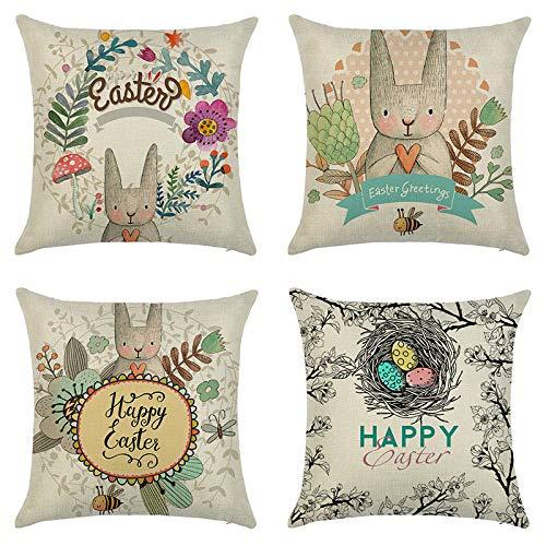 Cushion Pillow Covers Linen Cushion Pillow sofa decorative pillowcasepillowcase Colourful Decorative Pillowcases Personalised for Boudoir Bedroom Living Room car Sofa 40cm X 40cm Set of 4(Style Four)