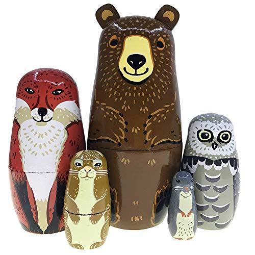 pu ran 5 Teile/Satz Nette Bär Fuchs Tier Holz Russische Matroschka Puppen Nesting Für Kinder Weihnachten Muttertag Dekoration Halloween Wishing Geschenk