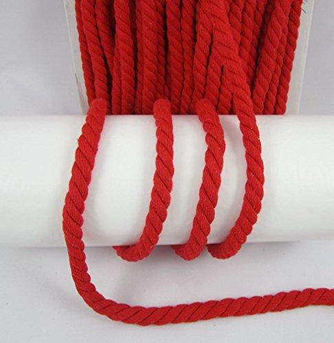 Baumwollkordel 15mm, gedrehte Kordel Meterware, 1meter, nähen (rot)