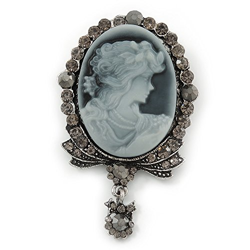 Avalaya Vintage Inspired Grey/Hematite Crystal Cameo with Charm Brooch in Antique Silver Tone - 63mm Across
