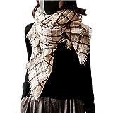 翎 最高級 カシミヤ 100% マフラー チェック レディース スカーフ 暖かい 大判 ストール ギフト 冬 プレゼント 茶色