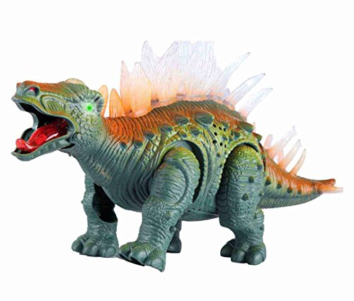 Liberty Imports Electronic Walking Jurassic Stegosaurus Dinosaur Toy Figure with Swinging Tail Action, Roaring Sounds & LED Lights | Battery Operated Dinosaurs Gift for Kids Boys Girls