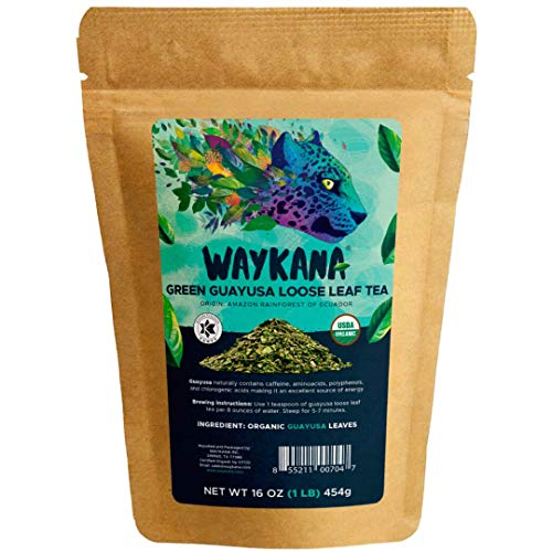 WAYKANA Guayusa Loose Leaf Tea, 16 Ounce | Yerba Mate & Coffee Alternative Energy | Smooth Taste Organic Natural High Caffeine Guayusa Tea Leaves | Boost Performance & Mental Clarity, 1 Pound (LB)