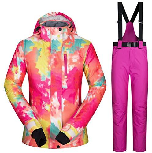 SHANGXIAN Femmes Ensemble de Vestes et Pantalons de Ski Hiver Chaud Imperméable Coupe-Vent Ski et Snowboard vêtements,B,XL