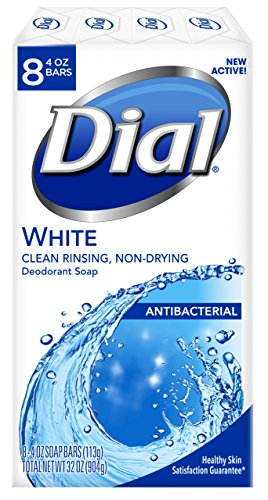 Dial Antibacterial Deodorant Soap, White, 4 Ounce (Pack of 8) Bars