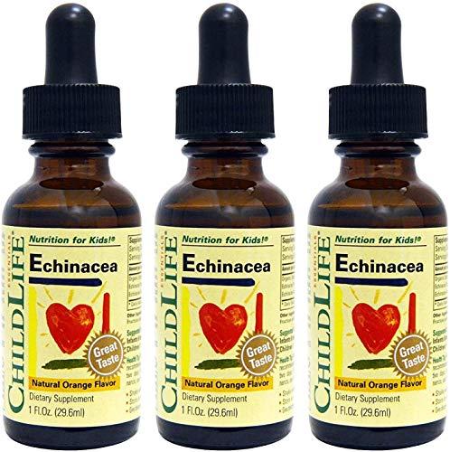 ChildLife Echinacea, Natural Orange Flavor - Organically Grown, Gluten Free, Alcohol Free, Casein Free, Non-GMO - 1 fl. oz Glass Bottle (Pack of 3)