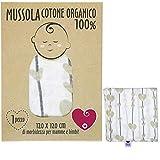 Musselin für Neugeborene aus weicher und organischer Baumwolle für Kinder und Babys. Ideal als Handtuch, Bettlaken für Kinderbetten. 100 % antiallergisch. 120 x 120 cm. Geschenkverpackung.