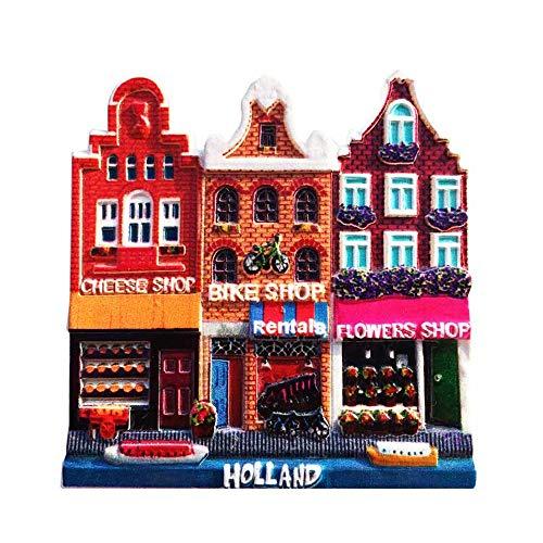 Time Traveler Go Imán para nevera de edificio de los Países Bajos, regalo de recuerdo 3D para decoración del hogar y la cocina
