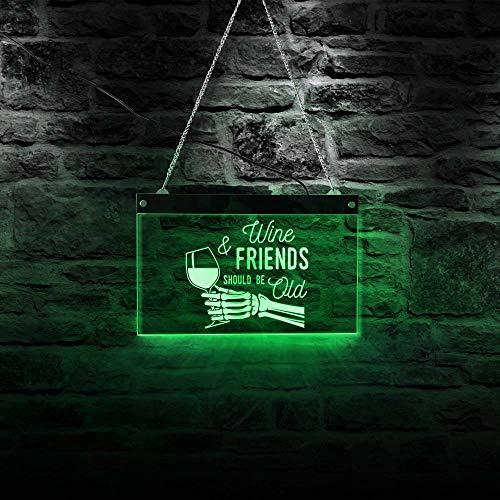 30cm * 19cm El Vino y los Amigos Deben ser Viejos Letrero de neón LED Esqueleto Mano sosteniendo Copa de Vino Bodega Empresa Decoración Bar Pub Marca Letrero de Pared Regalo del día de la Madre Letr