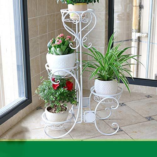 HLQW Estante para flores de hierro, estilo europeo europeo Estancia para balcones de varios pisos estilo europeo, piso tipo lounge verde Estante para botes de flores